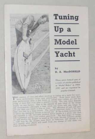 Image for Tuning Up a Model Yacht