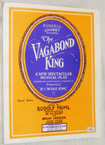 Image for The Vagabond King: a musical play. Vocal Score