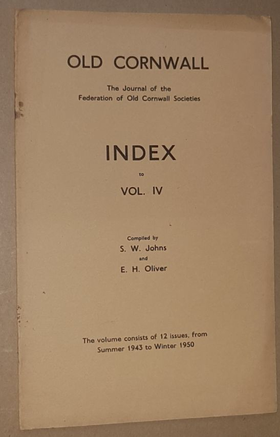 Image for Old Cornwall: Index to Volume IV