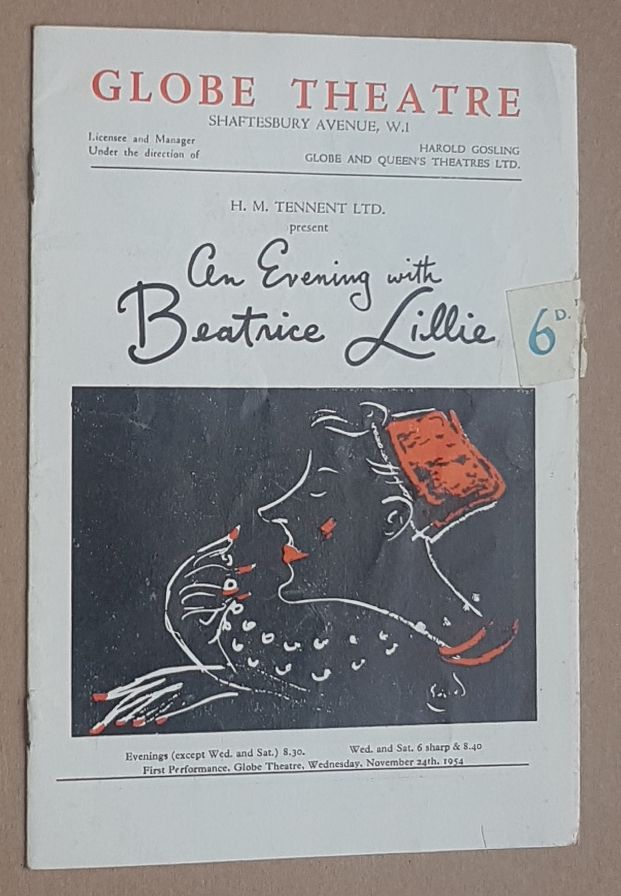 Image for An Evening with Beatrice Lillie. Globe Theatre, Shaftesbury Avenue, programme
