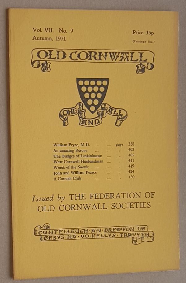 Image for Old Cornwall vol.VII, no.9, Autumn 1971