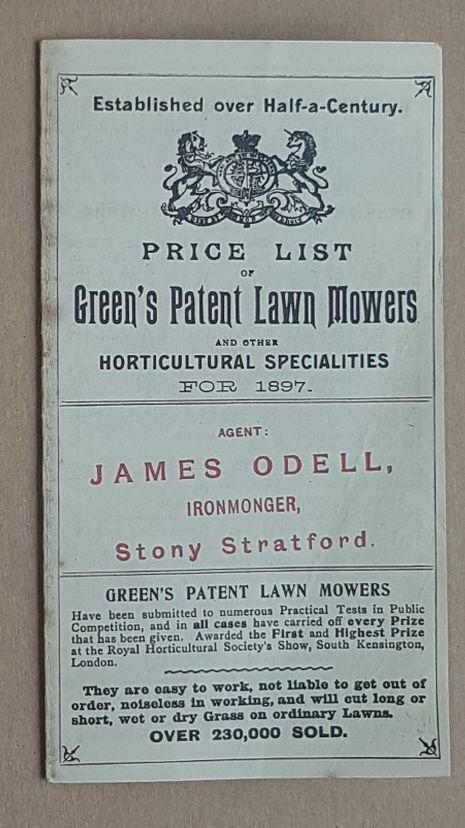 Image for Price List of Green's Patent Lawn Mowers and other Horticultural Specialities for 1897