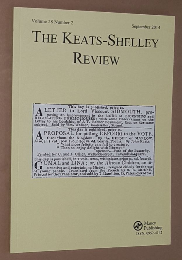 Image for The Keats-Shelley Review. Vol.28 No.2, September 2014