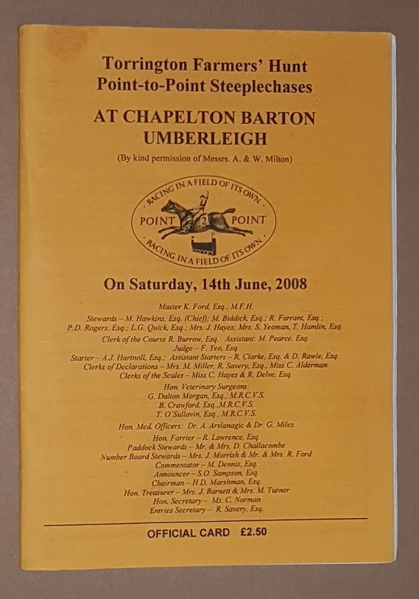 Image for Torrington Farmers' Hunt Point-to-Point Steeplechases, 14th June 2008, Official Card