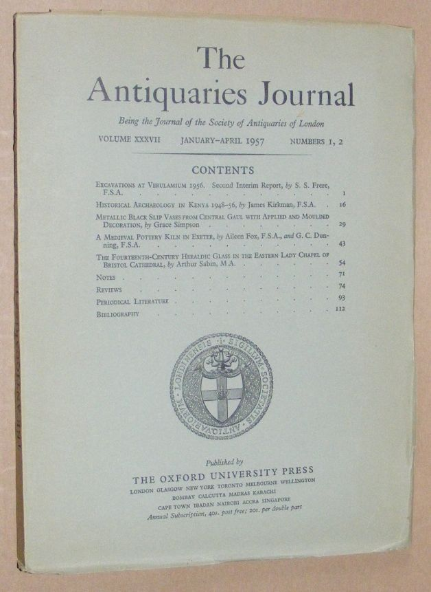 Image for The Antiquaries Journal January - April 1957, Vol. XXXVII Numbers 1, 2