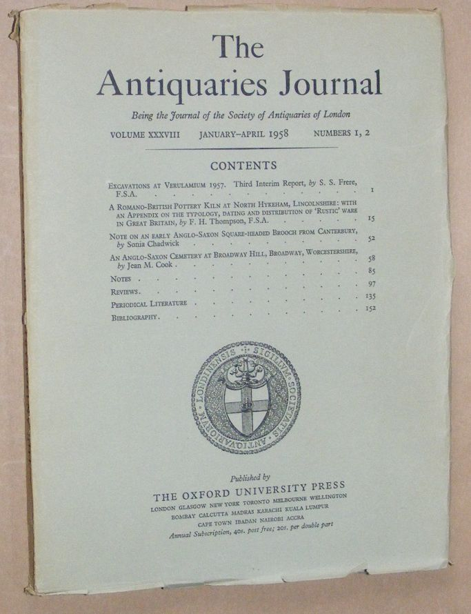 Image for The Antiquaries Journal January - April 1958, Vol. XXXVIII Numbers 1, 2
