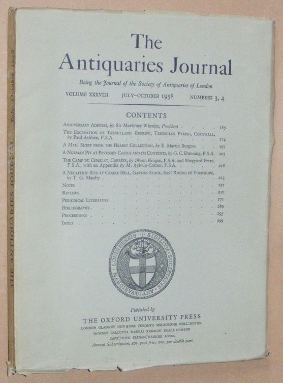Image for The Antiquaries Journal July - October 1958, Vol. XXXVIII Numbers 3, 4