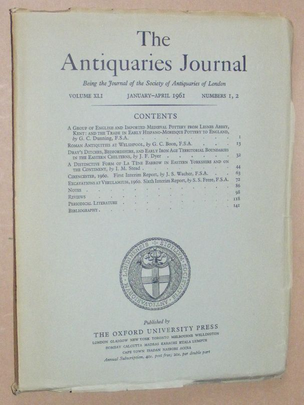 Image for The Antiquaries Journal January - April 1961, Vol. XLI Numbers 1, 2