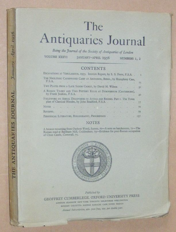 Image for The Antiquaries Journal January - April 1956, Vol. XXXVI Numbers 1, 2