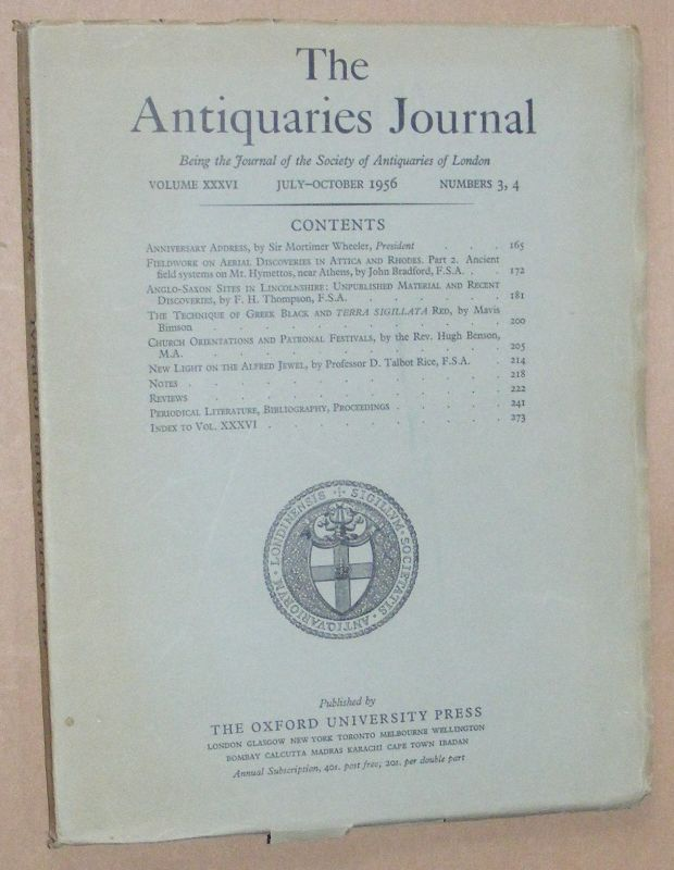 Image for The Antiquaries Journal July - October 1956, Vol. XXXVI Numbers 3, 4