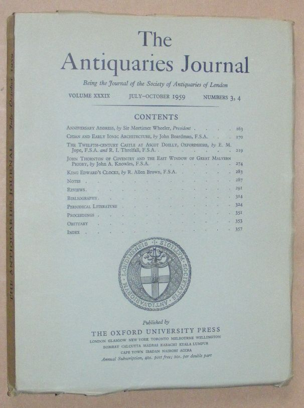 Image for The Antiquaries Journal July - October 1959, Vol. XXXIX Numbers 3, 4