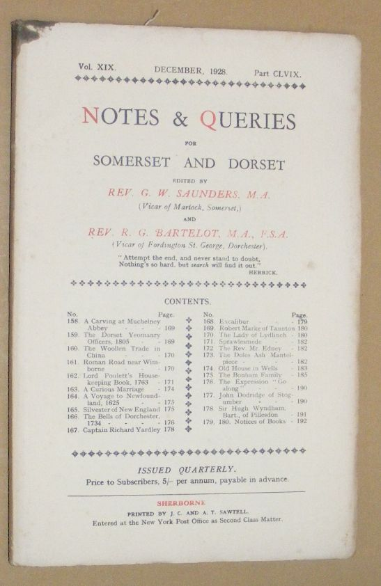 Image for Notes & Queries for Somerset and Dorset, December 1928, Vol.XIX Part CLVIX