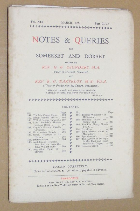 Image for Notes & Queries for Somerset and Dorset, March 1929, Vol.XIX Part CLVX