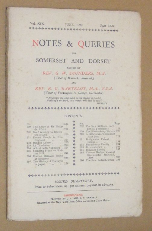 Image for Notes & Queries for Somerset and Dorset, June 1929, Vol.XIX Part CLXI