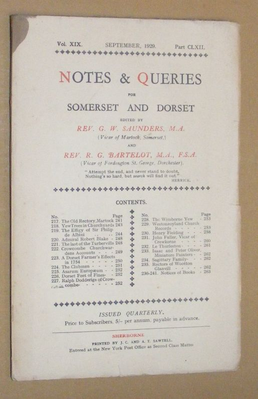 Image for Notes & Queries for Somerset and Dorset, September 1929, Vol.XIX Part CLXII