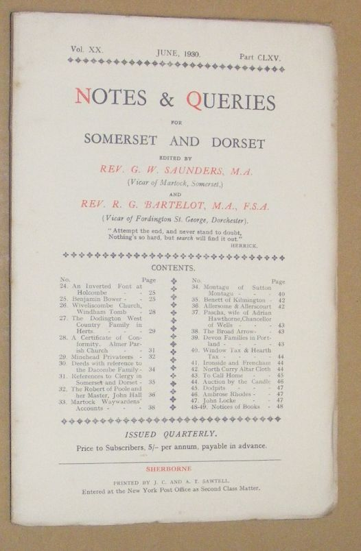 Image for Notes & Queries for Somerset and Dorset, June 1930, Vol.XX Part CLXV