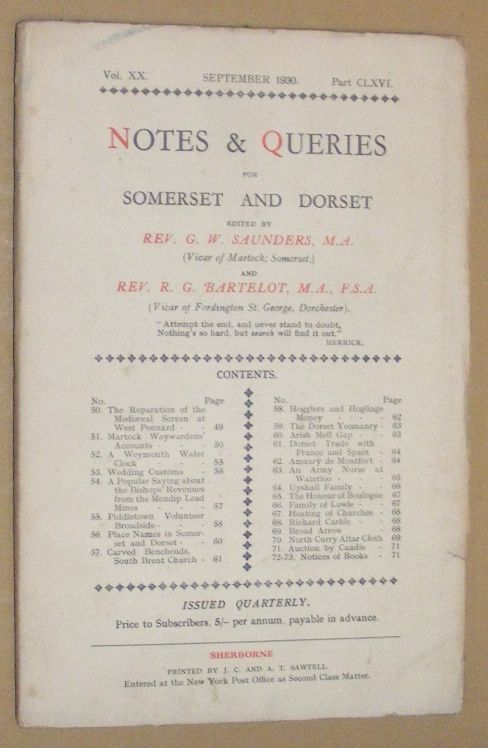 Image for Notes & Queries for Somerset and Dorset, September 1930, Vol.XX Part CLXVI