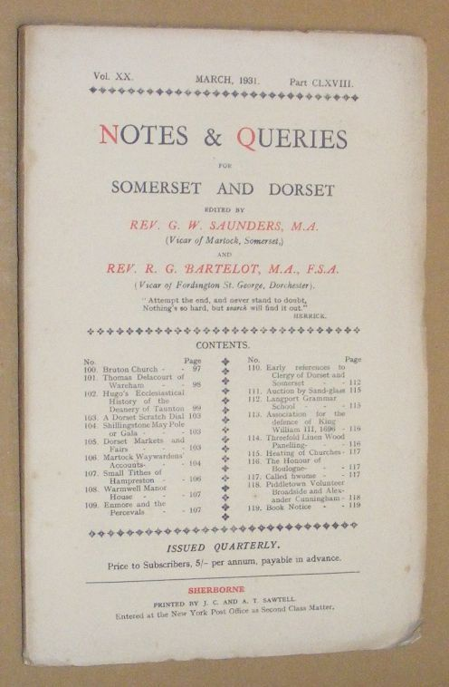 Image for Notes & Queries for Somerset and Dorset, March 1931, Vol.XX Part CLXVIII