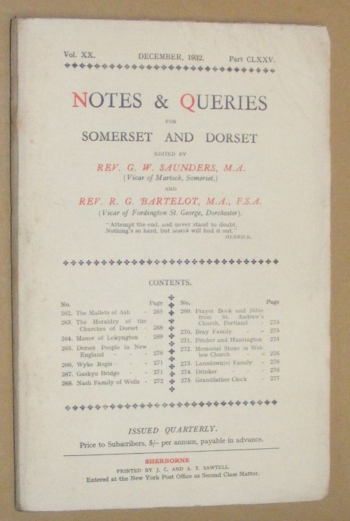 Image for Notes & Queries for Somerset and Dorset, December 1932, Vol.XX Part CLXXV