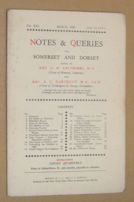 Image for Notes & Queries for Somerset and Dorset, March 1933 Vol.XXI Part CLXXVI