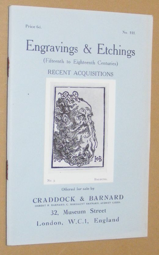 Image for Engravings & Etchings (Fifteenth to Nineteenth Centuries) Recent Acquisitions offered for sale by Craddock & Barnard. No.111