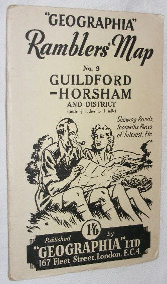 Image for 'Geographia' Ramblers' Map No.9 Guildford - Horsham & District (Scale ¾ inches to 1 mile)